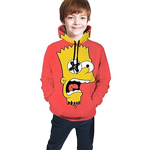 S-im-ps-on - Sudadera con capucha con capucha y bolsillo con estampado 3D y sudaderas con capucha para adolescentes