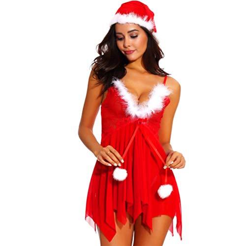 Holibanna Weihnachten Sexy Dessous Unterwäsche Set V-Ausschnitt Mesh Unterwäsche Rückenfreie Halfter Chemise Santa Bodysuit mit Santa Hut für Frauen Größe XXL