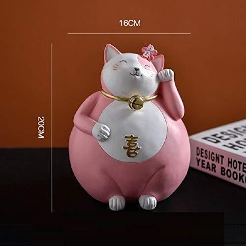 DIAOSUJIA sculptuur, Japanse roze creatief figuur Fortune Cat Statue hars handwerk woonkamer decoraties voor huis kassa ornamenten