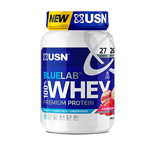 USN BlueLab 100 Percent Premium Whey Protein Raspberry Ripple, 908 g (Packaging may Vary)