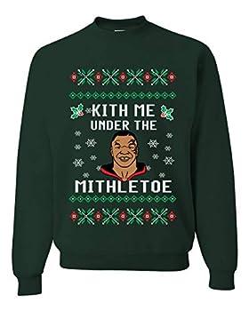 Kith Me Under the Mithletoe   Mens Ugly Christmas Sweater Crewneck Sweatshirt Forest Green Medium