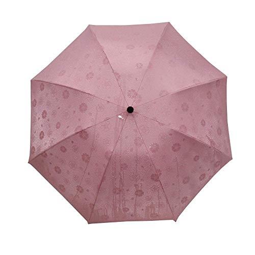 WYZQ Paraguas Rosa para niña, Paraguas Plegable de Apertura espontánea, Paraguas de Flores para reuniones de Agua, Paraguas de Golf, Paraguas Plegable, Equipaje