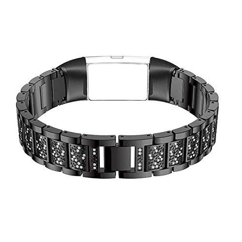 HGNZMD Repuesto Bandas Compatibles con Fitbit Charge 3 / Fitbit Charge 4, Bandas De Acero Inoxidable Correa De Metal Pulsera con Purpurina Transpirable Strap Joyas Compatibles con Charge 3/4,Negro
