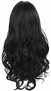 Hozz Soft Wavy Long Hair Wig Women`s Charming Synthetic Costume Wigs for Girl Black
