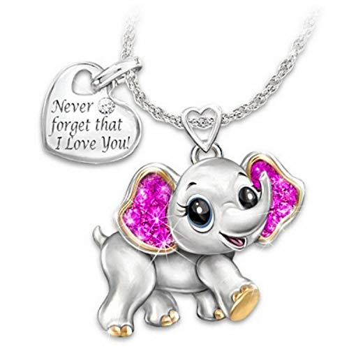 Maijia Elephant Pendant Necklace 'Never Forget That I Love You' Heart Pendant Gift for Christmas Thanksgiving Halloween Woman Girl Lady Gift (Purple)