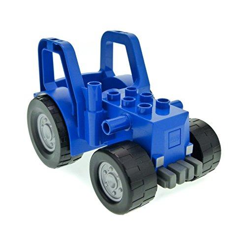 Bausteine gebraucht 1 x Lego Duplo Traktor blau dunkel grau groß Bauernhof Auto Trecker Frontlader Scheinwerfer grau für Set 4665 9227 47444c01