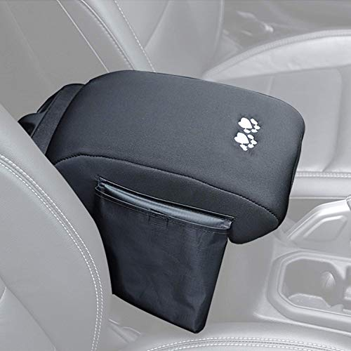 YOCTM for 2018 2019 2020 Jeep Wrangler JL Accessories Center Console Armrest Cushion Cover Pad Soft Cotton Cloth Memory Foam with Storage Pockets (Black with Dog Paw Paws Print logo)