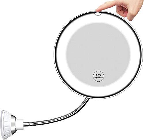 Spiegel mit Beleuchtung, LED-Wireless-Schminkspiegel mit 10-facher Vergrößerung, Flexibler Schwanenhals, 360° Schwenkbar mit starkem Saugnapf, Make Up Schminkspiegel mit Touch-Taste für Badzimmer