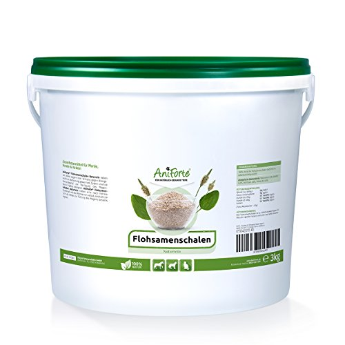 AniForte Flohsamenschalen für Pferde, Hunde & Katzen 3kg - Reich an Ballaststoffen & Schleimstoffen, Indischer Flohsamen für Pferde in Rohkost Qualität, Einzelfuttermittel im Sparpack