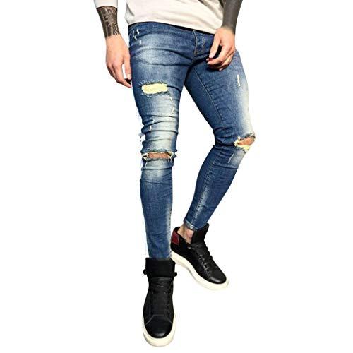 KaloryWee Löchern Jeans Hosen Herren Regular Reißverschluss Streifen Freizeitanzug Mann Männer Kleidung online Shop Hip Hop 2019 Neu