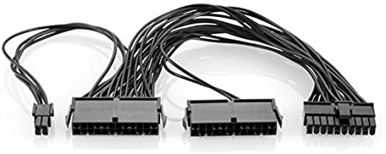 Duttek Dual PSU Power Supply Extension Cable 24 Pin (20+4) Adapter Cable for ATX Motherboard 12-inch (30cm) (24 pin to 24(20+4) pin) Computer Adaptor Splitter Cable,Mining Extension Cable