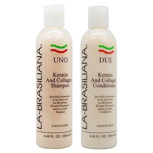 LA-BRASILIANA UNO Keratin After Treatment Shampoo 8.45oz + DUE Conditioner...