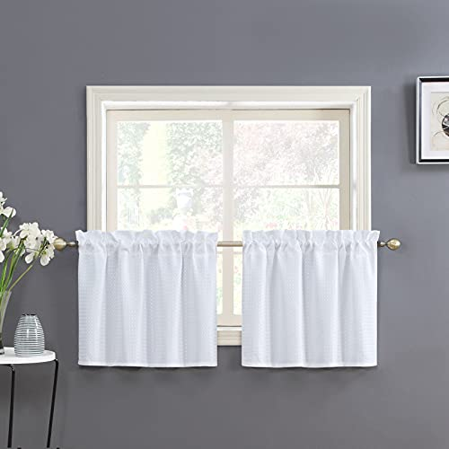 """Home Queen White Water Resistant Bathroom Window Curtain, Waffle Textured Half Tier Curtains for Kitchen Cafe, 36"""" W X 24"""" L Inches, Set of 2"""