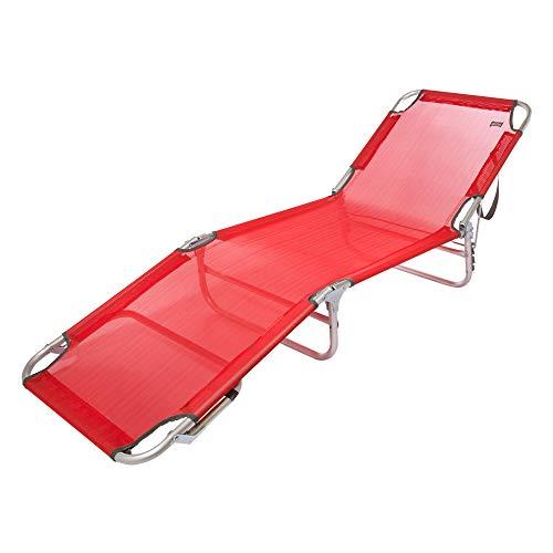 Aktive 53973 Tumbona plegable multiposición aluminio Beach, 188 x 58 x 24 cm Rojo