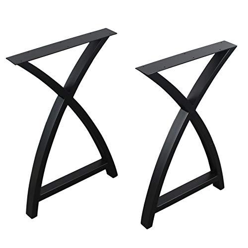 "MBQQ 2 Pcs Furniture Legs Rustic Decory Arc Triangle Shape Table Legs,Heavy Duty Metal Desk Legs,Dining Table Legs,Industrial Modern, DIY Iron Bench Legs(H28""xW17.7"")"