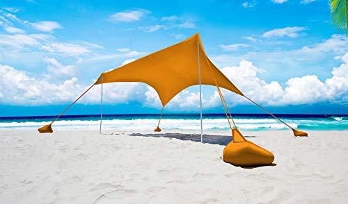 Otentik - Nano, parasole per spiaggia o per esterni, gazebo da spiaggia, tettoia a vela, tenda parasole, adatta per due persone, Arancione