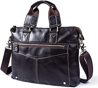 FYXKGLan Men's Genuine Leather Business Bag Cowhide Handbag Leisure Male Shoulder Messenger Bag Briefcase (Color : Coffee)