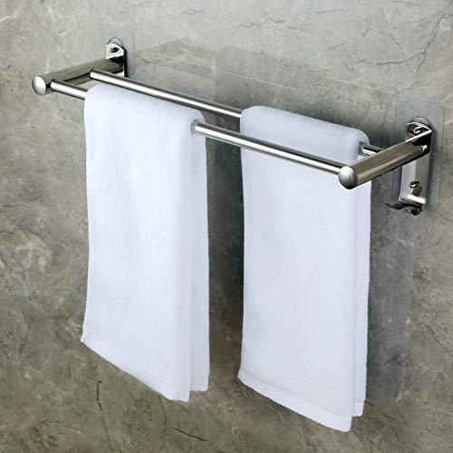 CHOELF Zweiarmig Handtuchhalter 50cm mit Haken, selbstklebend Handtuchstange Bad Ohne Bohren Wandmontage Edelstahl Badetuchhalter für Badezimmer WC Küche