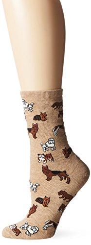 Hot Sox Women's Animal Series Novelty Casual Crew Socks, Dogs (Hemp Heather), Shoe Size: 4-10