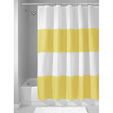 InterDesign Mildew-Free Water-Repellent Zeno Fabric Shower Curtain, 72-Inch by 72-Inch, Yellow/White (26916)