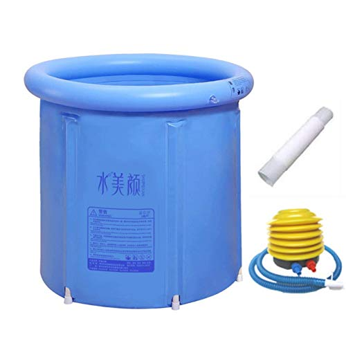 WXF Inflatable Plastic Bathtub with Cushion Adult Portable Folding bath tub Super-Thick PVC Cylindrical Baby Pools Hot Tubs (Blue)