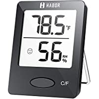 Habor Hygrometer Indoor Thermometer for Home, Office, Greenhouse (Black)