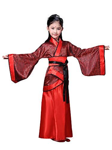 BOZEVON Hanfu - Mädchen Red Joyous Hanfu Kinder Drama Bühne Kostüme,Rot (Stil 1),EU 140=Tag 150