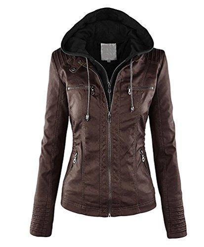Minetom Damen Herbst Vintage Übergangs Jacke Winter Kunstlederjacke Kapuzenmäntel Zipper Slim Fit Coat Kaffee DE 38