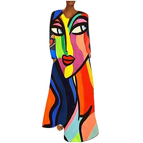 Dasongff Leinenkleid Lang Maxikleid Damen Boho Langarm Vintage Bunter Übergröße Casual Kleid Elegante Freizeitkleid Blusenkleid Kaftan Tshirt Kleid
