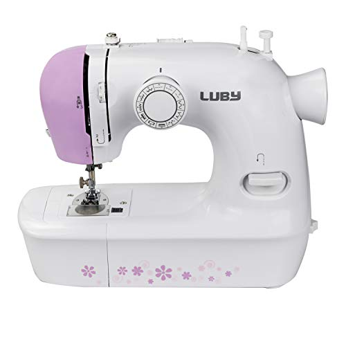 Luby Sewing Machine for Beginners with 12 Stitches & Free Arm, Portable & Lightweight, Battery Supply Available, Purple