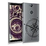 kwmobile Hülle kompatibel mit Sony Xperia XA2 Plus - Hülle Silikon transparent Kompass Vintage Schwarz Transparent