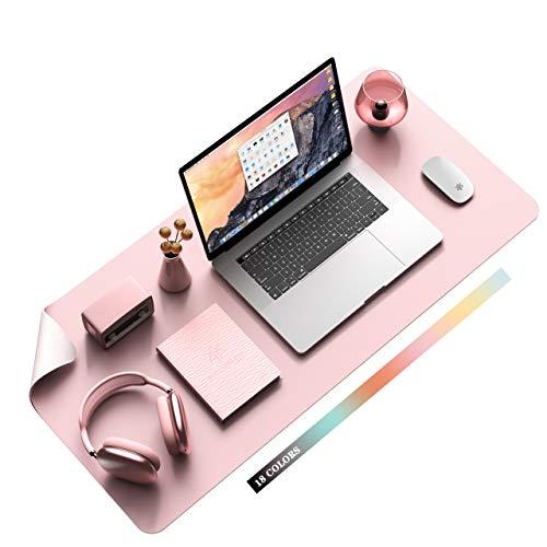 Multifunktionales Office Mauspad, YSAGi 80x40 cm Wasserdichte Schreibtischunterlage aus PU-Leder, Ultradünnes Mousepad , Rutschfeste Schreibtischmatte, für Büro und Zuhause (Pink-Single)