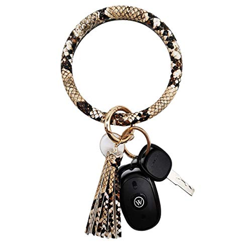 Weixiltc Wristlet Keychain Bracelet Bangle Keyring - Big O Key Ring Leather Tassel Bracelet Holder For Women Girl (Snake)