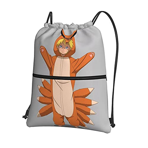 Anime NARUTO Mochila con cordón para bebé con cremallera bolsillo bolsa de viaje deportiva repelente al agua mochila ligera deporte unisex