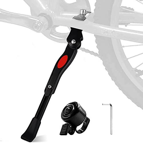 JatilEr Soporte para bicicletas de 24/26 pulgadas, soporte para bicicleta de montaña, soporte para niños, soporte para cubo, soporte lateral, con llave Allen y campana pequeña para aparcar