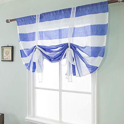 GJXY 1 stücke Gestreifte Raffrollos Schöne Vorhänge mit einzelnen Rüschen mit Blue Ribbon Vorhänge Fenstervorhang Romantisches Zuhause Einfachheit Leben Thema Dekoration Vorhänge,W117*H160cm