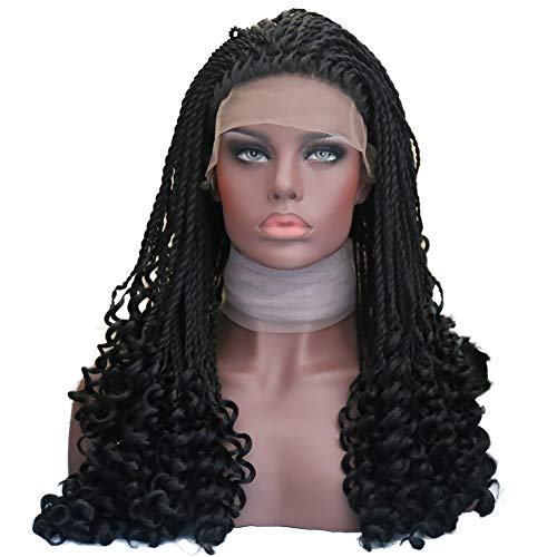 Rongduoyi Micro Braids Wig With Curly End Black Synthetic Lace Front Wigs Half Braided Wigs African Hair For Black Women Heat Resistant Hair 24Inch