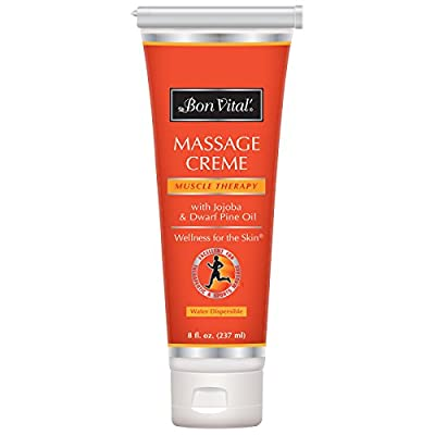 Bon Vital' Muscle Therapy Massage Cr?me, Professional Massage Cream with Dwarf Pine Oil & Essential Oils for Relaxation & Sore Muscle Relief, Deep Tissue & Sports Massage Techniques, 8 Ounce Tube