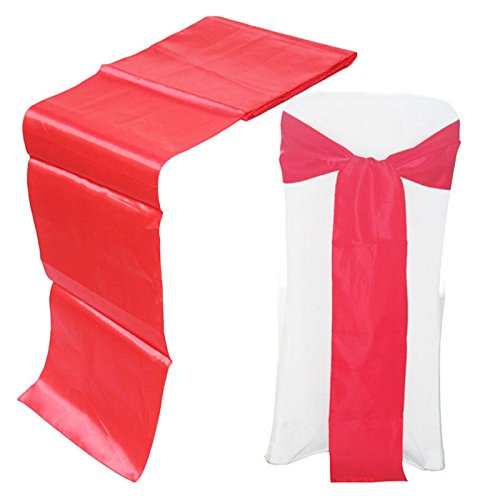 MINBB 30x275CM Satin Table Chair Bow Tie Sash for Wedding Party Banquet Decoration Kitchen Dining &amp bar
