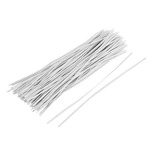sourcing map Nasenbügel Metallbügel beschichteter draht Kabelbinder Kabelbindern 130 Stück 150mm x 2mm Biegsamen Draht weiß