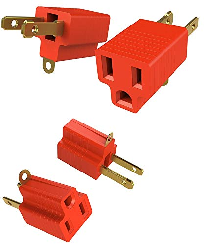 2 Prong to 3 Prongs Outlet Adapter Two Pack Converter Kit - Heavy Duty Grounded Wall Tap Extender Ideal for a Kitchen Plug, Electrical Cord, Household, Workshops, Industrial, Machinery, and Appliances