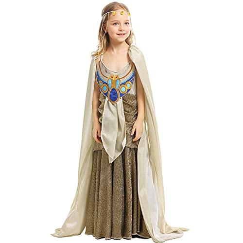 Almondle Vestido de Princesa egipcia, Disfraz de Reina egipcia para niños, Vestido de Diosa, Capa y Sombreros para niñas, Traje de actuación en el Escenario de Halloween