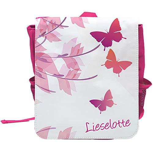 Kinder-Rucksack mit Namen Lieselotte und schönem Motiv mit Schmetterlingen für Mädchen