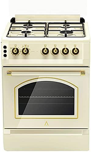 ALPHA Cocina de Gas VULCANO CREAM-60 Rustica. Encendido automático y temporizador en horno. **Alta Gama**