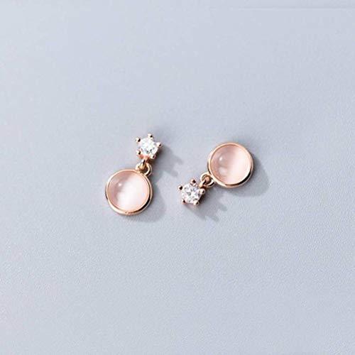 WOZUIMEI S925 Pendientes de Plata Mujer Coreana Estilo Lindo Ópalo Sintético Diamante Femeninooro rosa