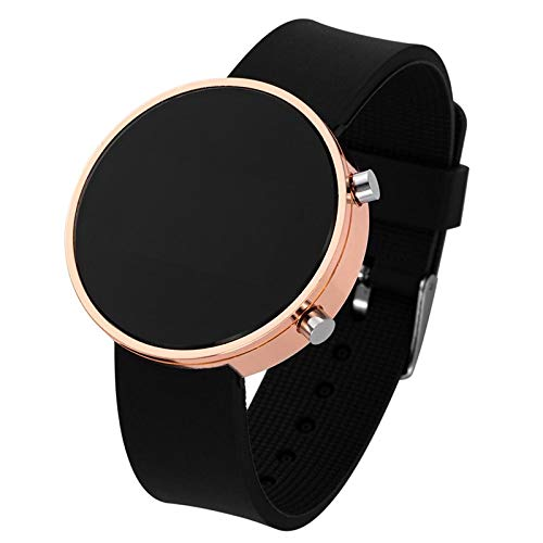 Relojes Clásico Mujeres Hombres Relojes Deportivos Led De Primeras Marcas De Lujo para Mujer Reloj Analógico Redondo Relojes De Pulsera Reloj De Pulsera Digital Led Negro-Rosegold