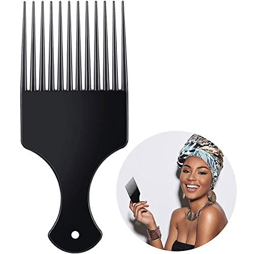 Afro Haar Kamm Haar Pick Kamm Kunststoff Afro Pick Haar Kamm Glatte Haar Pick Kamm Kunststoff Breite Zahn Haar Pick Kamm Friseur Styling Werkzeug für Natürliche Lockige Haar Stil, Schwarz