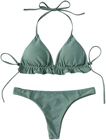 SweatyRocks Women s Solid Color Bathing Suits Halter Triangle Bikini Top Thong Swimsuits Green product image