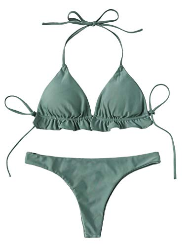 SweatyRocks Women's Solid Color Bathing Suits Halter Triangle Bikini Top Thong Swimsuits Green Small