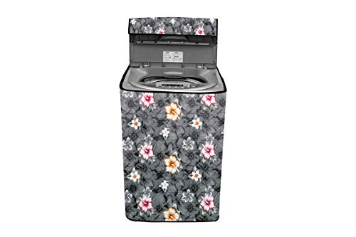 Stylista Washing Machine Cover Compatible for LG 11.0 Kg Inverter Fully-Automatic Top Loading THD11STB Floral Grey